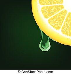 citron, goutte, bas, vecteur, fond, écoulement, segment.