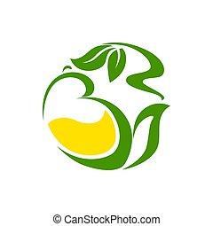 citron, herbier, feuilles vertes, thé