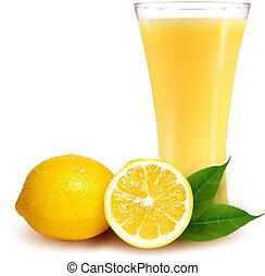 citron, illustration., verre, vecteur, juice., frais