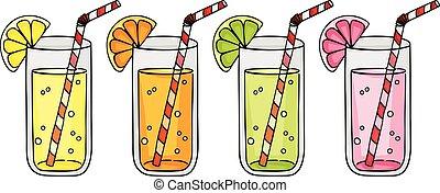 citron, orange, citrus, pamplemousse, jus, fruits, frais, chaux