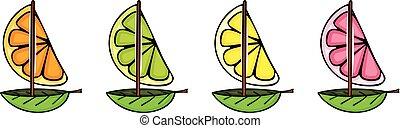 citron, pamplemousse, orange, forme, frais, bateau, chaux