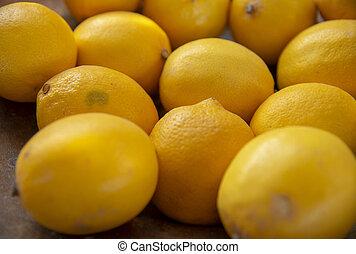 citron, side., fruits, foyer., sélectif, côté, jaune, arrière-plan., empilé