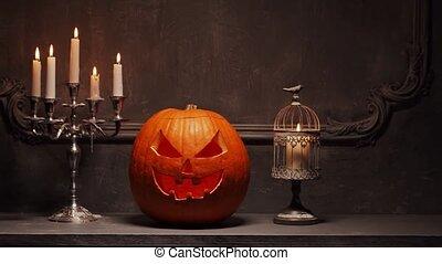 citrouille, crâne, magic., ancien, vieux, halloween, effrayant, gothique, fireplace., sorcellerie, rire