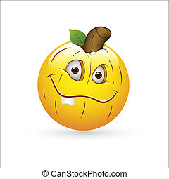 citrouille, smiley, expression, icône