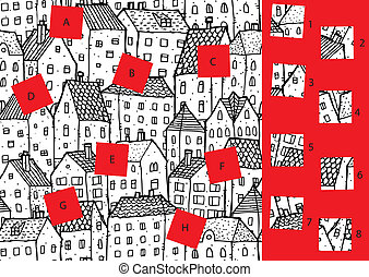 city:, game., visuel, solution, morceaux, layer!, caché, allumette