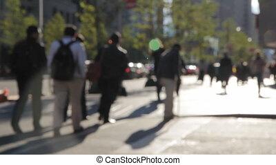 city., gens marcher