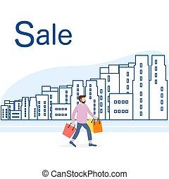 city., grand, concept., vente, achats, homme