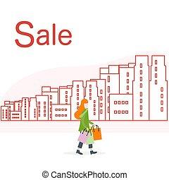 city., grand, concept., vente, femme, achats