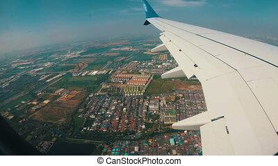city., jet, sur, voler, fenêtre, bas, avion, vue