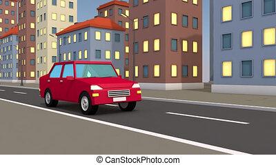 city., voiture, résumé, par, promenades, 3d