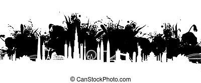 cityscape, éclaboussure, fond