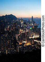 cityscape, île, hong kong, crépuscule