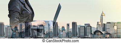 cityscape, business, exposition, bannière, matin, taille, communication, femme affaires, barbouillage, bâtiment, informatique, dactylographie, ordinateur portable, double, concept, technologie