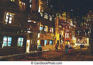 cityscape, coloré, lumière urbaine