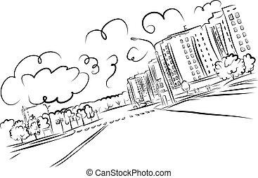 cityscape, croquis, conception, ton