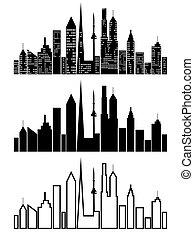 cityscape, ensemble, noir, icônes