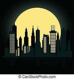 cityscape, fullmoon, scène nuit, horizon