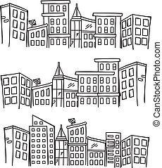 cityscape, griffonnage
