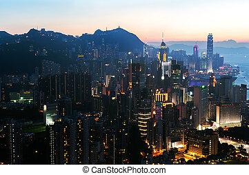 cityscape, hong, coucher soleil, kong