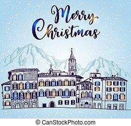 cityscape, maisons, hiver