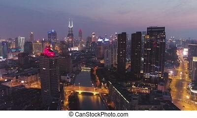 cityscape, porcelaine, huangpu, nuit, ville, shanghai