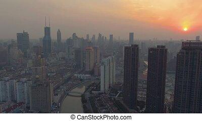 cityscape, porcelaine, huangpu, ville, coucher soleil, shanghai