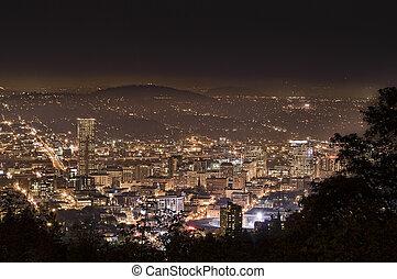 cityscape, portland, soir, usa, orégon