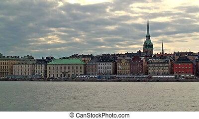 cityscape, soir, stockholm