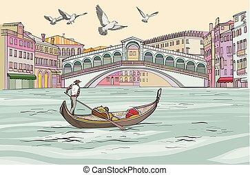 cityscape, venecia, grandiose, gondole, canal., vue.