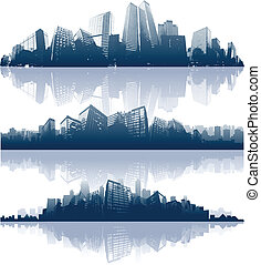 cityscapes, silhouettes, fond
