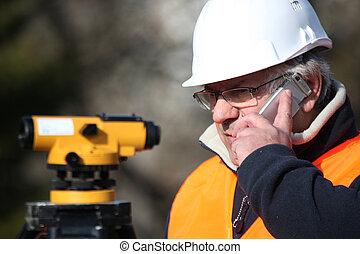 civil, équipement, ingénieur, examiner