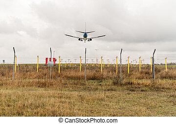 civil, avion, atterrissage