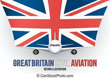 civil, avion, drapeau