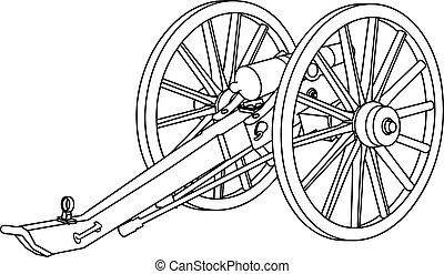 civil, canon, guerre, dessin