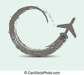 civil, chemins, avion