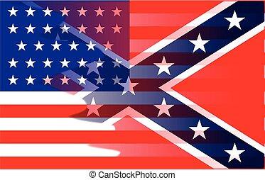 civil, drapeau, mélange, guerre