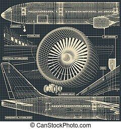 civil, fragment, avion, dessin