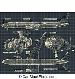 civil, fragment, avion ligne, dessin