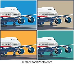 civil, grand, avion