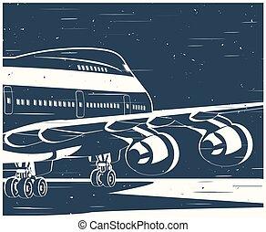 civil, grand, avion, vieux, affiche