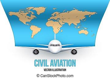 civil, mondiale, avion, carte