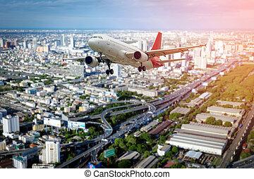 civil, sur, voler, city., avion