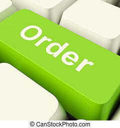 clã©, achats, informatique, ordre, projection, vert, ligne, achats