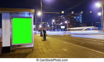 clã©, arrêt, lapse., autobus, écran, n, chroma, panneau affichage, vert, night., temps