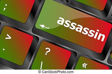 clã©, assassin, mot, clavier ordinateur, pc