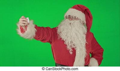 clã©, chrome, selfie, claus, vert, santa, écran