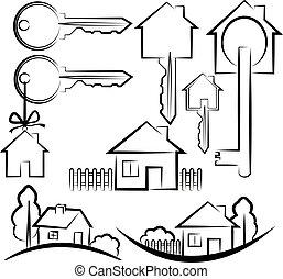 clã©, icônes, maison, maison, symboles