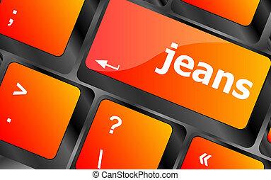 clã©, jean, mot, clavier ordinateur, pc