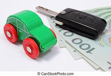 clã©, jouet, vehicle., voiture, argent, arrière-plan vert, blanc