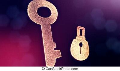 clã©, profondeur, copie, champ, lueur, fait, 6, lock., seamless, space., particules, bokeh, arrière-plan animation, violet, hologram., vitrtual, 3d, icône